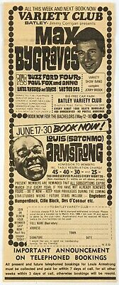 Louis (Satchmo) Armstrong / Max Bygraves At Batley Variety Club 1968 Cutting • 6.99£