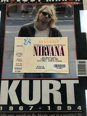 Nirvana Genuine Cancelled Gig Ticket For 5th April 1994 Kurt Cobain Day Of Death • 299£