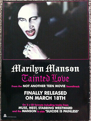 MARILYN MANSON - TAINTED LOVE 2001 Full Page UK Magazine Ad • 3.95£