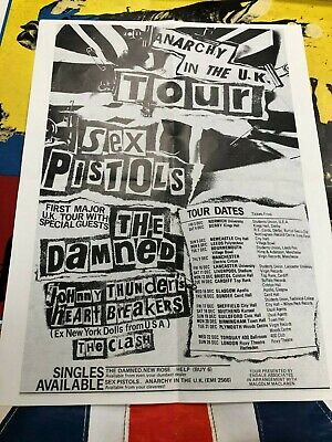Rare Folded Sex Pistols Anarchy In The Uk Tour Double Sided Poster • 48£