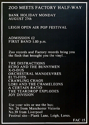 JOY DIVISION Zoo Meets Factory Half Way CONCERT POSTER FAC15 Rob Gretton Archive • 3,948.35£