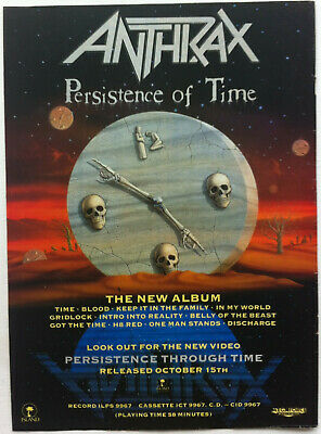 ANTHRAX - PERSISTENCE OF TIME 1990 Full Page UK Magazine Ad • 3.95£