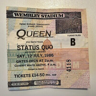 Queen Wembley Stadium Concert Ticket Stub | Saturday 12 July 1986 | Number 4118 • 90£