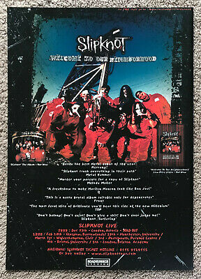 SLIPKNOT - WELCOME TO OUR NEIGHBOURHOOD 1999 Full Page UK Magazine Ad  • 3.95£