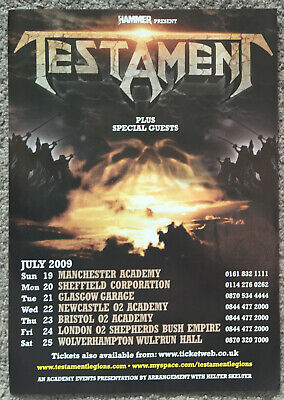 TESTAMENT - TOUR DATES 2009 Full Page UK Magazine Ad • 3.95£