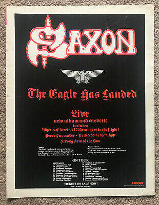 SAXON - THE EAGLE HAS LANDED / TOUR DATES 1982 Full Page UK Magazine Ad • 3.95£