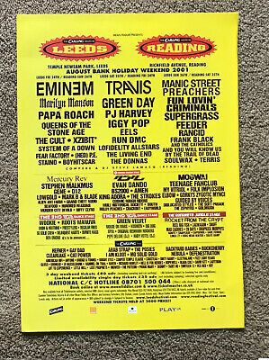 LEEDS/READING 2001 UK Mag Ad EMINEM TRAVIS MANIC STREET PREACHERS MARILYN MANSON • 3.95£
