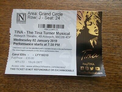 Tina The Musical Used Ticket Stub. • 0.99£