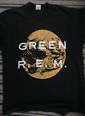 Vintage 1988 R.E.M. Green T-Shirt, Fruit...Loom, L USA, Power Of Single Action • 37.52£