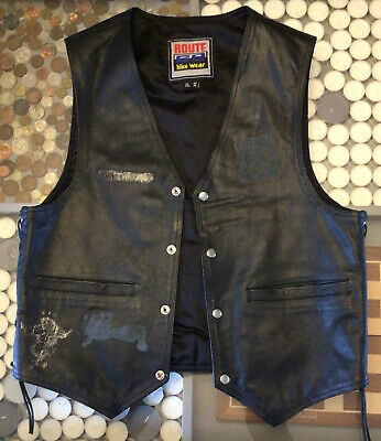 "Leather Biker Waistcoat Side Lacing 44"" Heavy Metal • 30£"