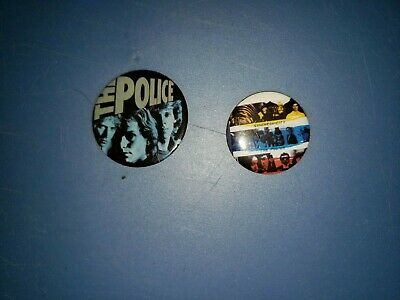 2 Different 80's Vintage THE POLICE Rock Music Group Buttons Pins • 2.22£