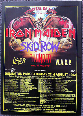 MONSTERS OF ROCK  -1992 Full Page UK Ad IRON MAIDEN SKID ROW THUNDER SLAYER WASP • 3.95£