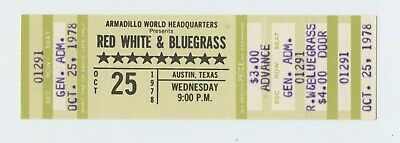 Red White And Blue Grass Ticket 1978 Oct 25 Austin TX Unused • 10.51£