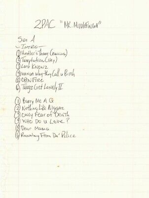 Tupac Shakur (2Pac) Signed Hand Written Track List JSA Authenticated • 15,500£