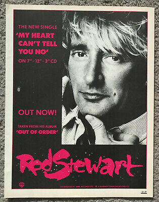 ROD STEWART - MY HEART CAN'T TELL YOU NO 1989 Full Page UK Magazine Ad • 3.95£