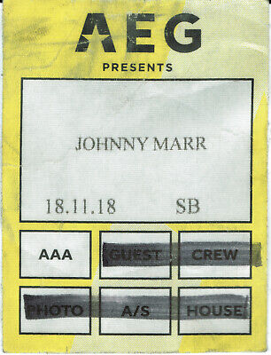 Johnny Marr Satin Access All Areas Backstage Pass Manchester 18 November 2018 • 4.99£