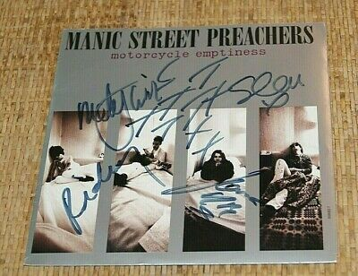 MANIC STREET PREACHERS Genuine Band Signed 1992 7  Vinyl MOTORCYCLE EMPTINESS   • 124.99£