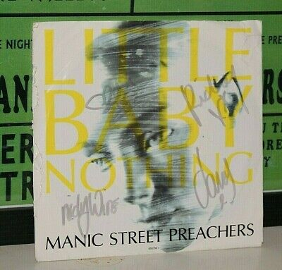 MANIC STREET PREACHERS Genuine Band Signed 1992 7  Vinyl LITTLE BABY NOTHING   • 109.99£