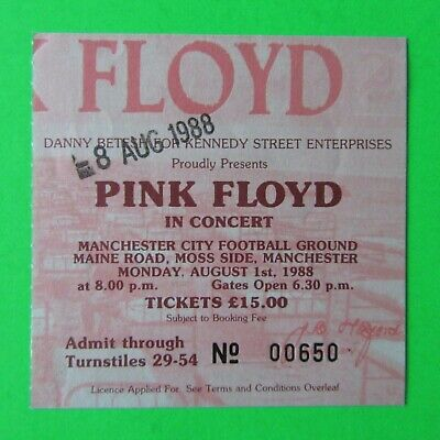 PINK FLOYD - In Concert - RARE Ticket Manchester City Maine Road 1988 (00650) • 22£