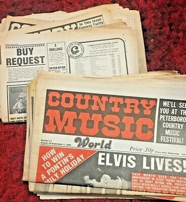 Bundle  X13 Country Music  World  1981 Newspapers • 9.99£