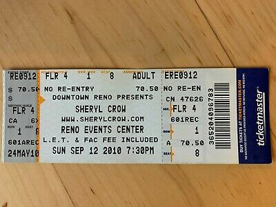 Sheryl Crow 2010 Full- Unused 1st Row Ticket  • 7.15£