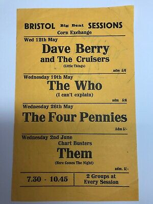 Very Rare Early 'The Who' Concert Flyer -signed!!! • 255£