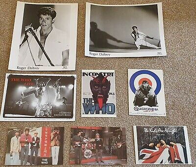 The Who Set Of 5 Postcards, 2 X Roger Daltrey B/W Photos, Plus Book Launch Flyer • 14.99£