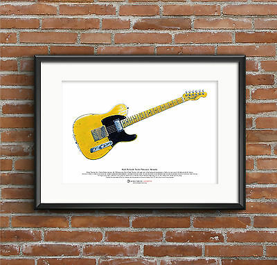 Keith Richards' Fender Telecaster Micawber Guitar ART POSTER A3 Size • 10.99£