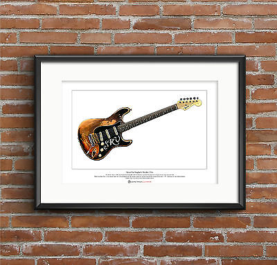 Stevie Ray Vaughan's Stratocaster Number One Ltd Edition Fine Art Print A3 Size • 18.50£