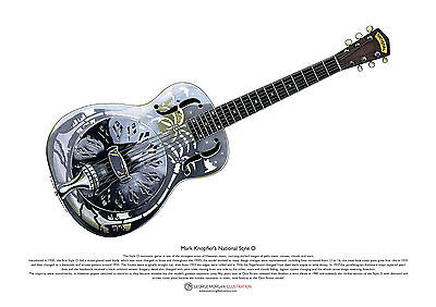 Mark Knopfler's National Style 0 Resonator Guitar ART POSTER A3 Size • 10.99£