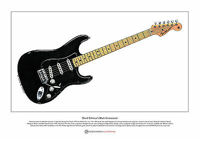 David Gilmour's Black Stratocaster Limited Edition Fine Art Print A3 Size • 18.50£
