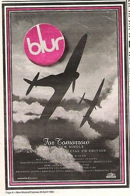 BLUR For Tomorrow 1993 UK Poster Size Press ADVERT 10x7 Inches • 7.95£