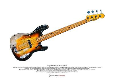Sting's 1957 Fender Precision Bass ART POSTER A3 Size • 10.99£