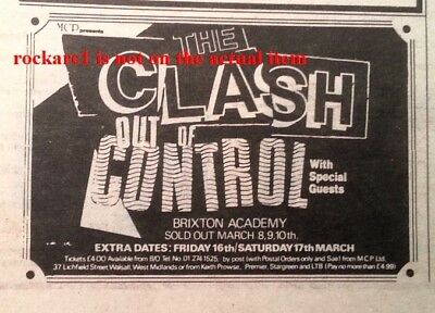 CLASH UK TIMELINE Advert - 6 Nights In Brixton March 1984 2x3 Inches - Punk • 5.95£