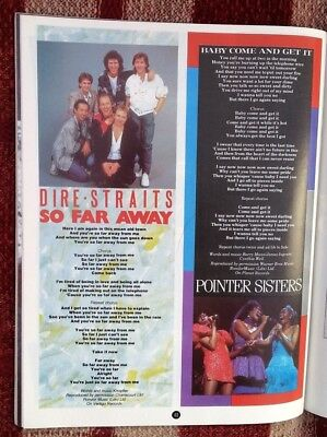 DIRE STRAITS POINTER SISTERS Lyrics Magazine PHOTO/Poster/clipping 11x8 Inches • 7.95£