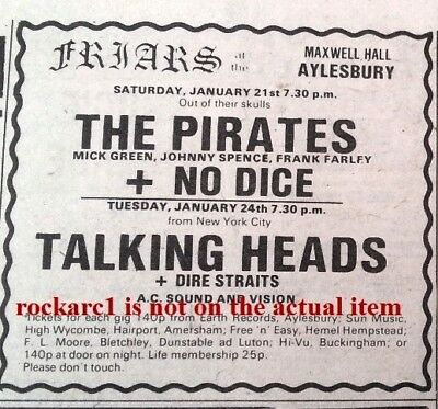 DIRE STRAITS TALKING HEADS  UK TIMELINE Advert - Friars Tues-24-1-78 3x3 Inches • 4.95£