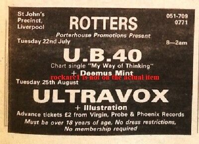 UB40 UK TIMELINE Advert - Liverpool Rotters Club 22-July-1980 3x3 Inches • 3.95£