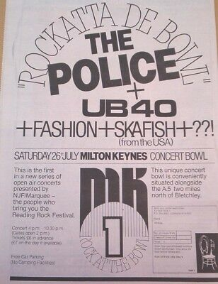 UB40 POLICE Milton Keynes 1980 UK Poster Size Press ADVERT 16x12 Inches • 9.95£