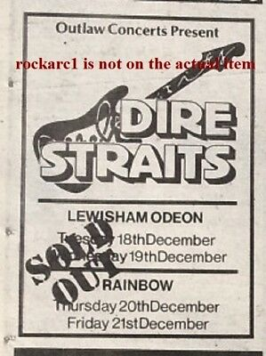 DIRE STRAITS 'sold Out Tour Dates' 1979 UK Mini Press ADVERT 5x3 Inches • 4.95£