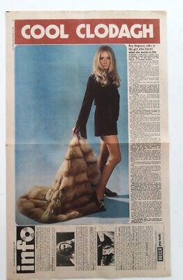 CLODAGH RODGERS 'fur Coat' 1969  Vintage Newspaper POSTER Size: 14x24 Inches • 24.95£