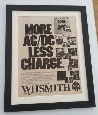 AC/DC*Less Charge*1981*ORIGINAL*POSTER*AD*FRAMED*FAST WORLD SHIP • 69.95£