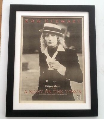 ROD STEWART Night On The Town Red Ink 1976*ORIGINAL*POSTER*AD*FRAMED*FAST WORLD  • 64.95£