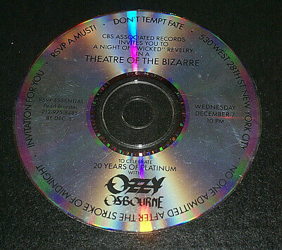 Ozzy Osbourne Very Rare Private Industry Party Cd Invintation Dec 7 1988 Nyc  • 393.52£