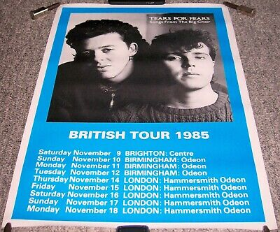 Tears For Fears Stunning Rare 1985 'songs From The Big Chair' U.k. Tour Poster • 35£
