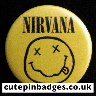 Nirvana Smiley Badge - 5 Sizes 25mm To 77mm Pin Button Grunge Punk Indie Rock • 1.65£