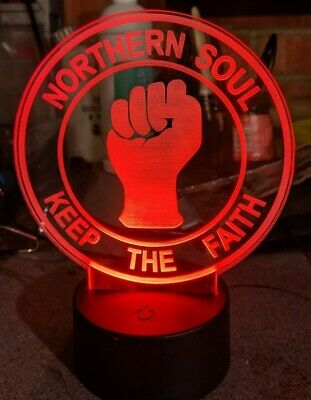 Northern Soul Keep The Faith Acrylic Engraved LED Lamp • 20£