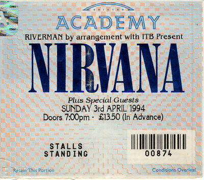 Nirvana Ticket Stub For The Cancelled Brixton Academy Show 3rd April 1994  • 85£