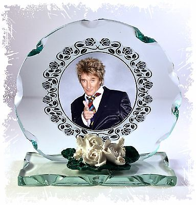 Rod Stewart Photo Gift Cut Glass Plaque By Cellini • 27£