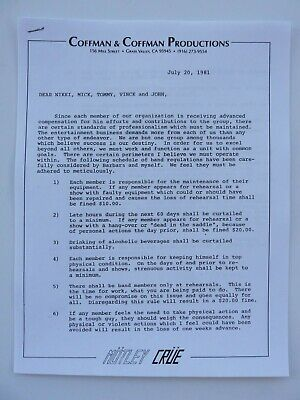Motley Crue Vintage TFFL Personal Memo's From Management Contract Copy #1 • 5.52£