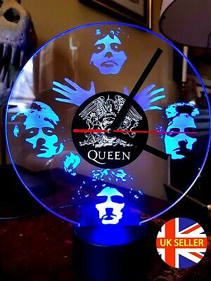 Queen, Freddie Mercury Acrylic Engraved LED Clock • 29£